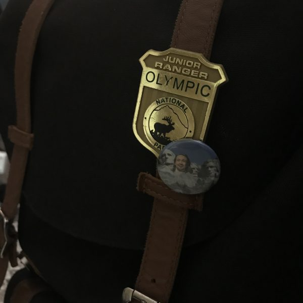 Backpack with Olympic Junior Ranger pin and Hamilton pin