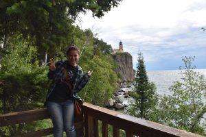 Dani at Split Rock Lighthouse on Lake Superior.